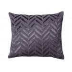 Herringbone Flax Blue Jute Cushion Oblong