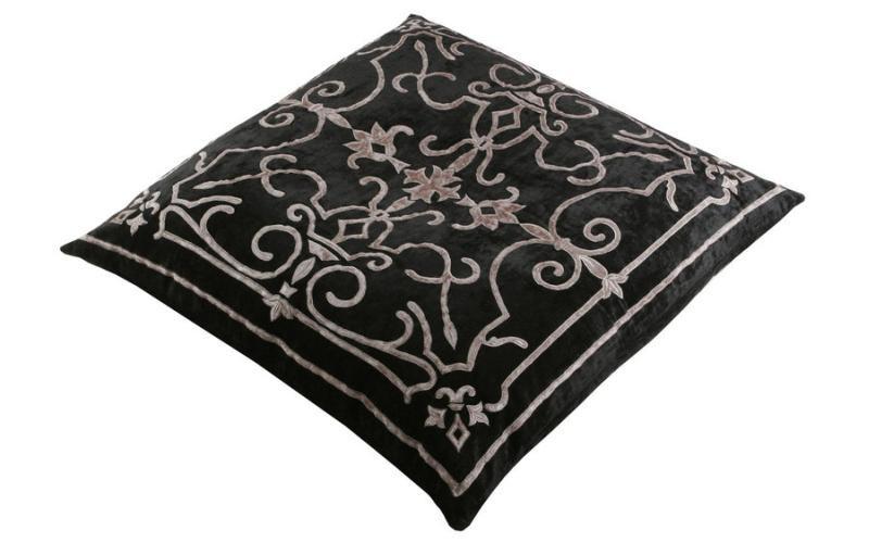 Isobel Black Velvet Floor Cushion
