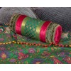 Cerise and Turquoise Brocade and Velvet  Bolster