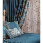 Juliet Teal Silk  Embroidered Curtain