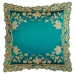 Juliet Teal Silk  Embroidered Cushion cover Large
