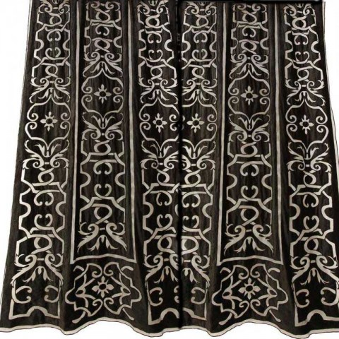 Leopold Black Velvet Appliqued Curtain Panel