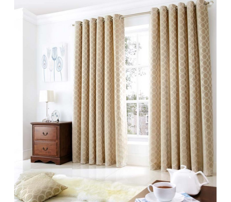 Oh Cream Chenille Eyelet Curtains