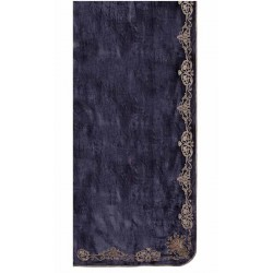 Oscar Flax Blue Velvet Appliqued Curtain Left