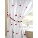 Pearls embroidered voile lined curtains pink