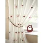 Pearls embroidered voile lined curtains red