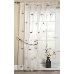 Pearls embroidered voile unlined curtain panel red