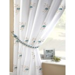 Pearls embroidered voile lined curtains teal