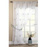 Pearls embroidered voile unlined curtain panel teal