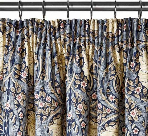 William Morris Pimpernel Blue Lined Curtains
