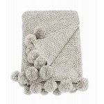 Pom Pom Knitted Throw Linen