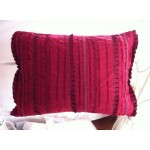 Wine Red Pleated Cushion Cover