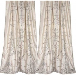 Regina Ivory Silk  Embroidered Curtain