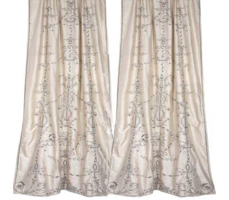 Regina Ivory Silk Embroidered Curtain