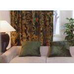 Richmond Green Velvet Appliqued Curtain