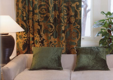 Richmond Green Velvet Appliqued Curtain