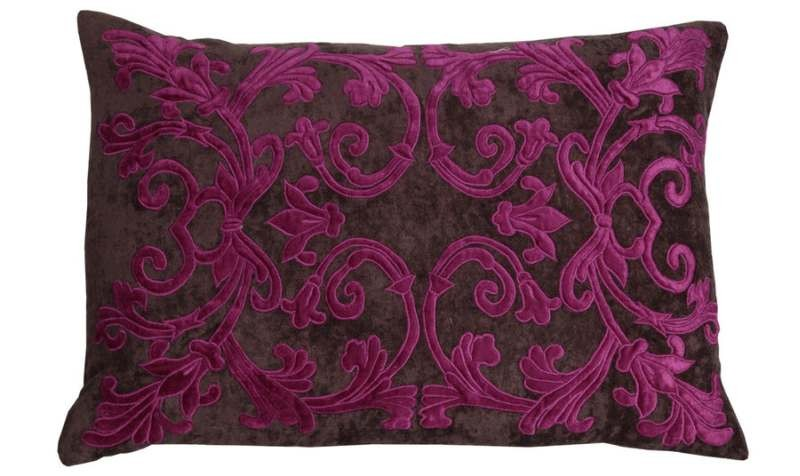 Alison Fuschia Pink Velvet Appliqued Curtain