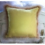 Silk Velvet Swansdown-Trimmed Cushion  Cover Vanilla