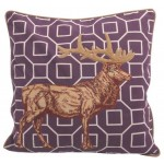 Stag Retro Purple Cushion Cover
