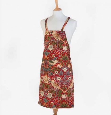 Strawberry Thief Crimson Fabric Halter Apron