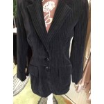 Sue Rowe Pinstripe Black velvet jacket small
