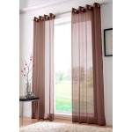 Voile eyelet panel chocolate