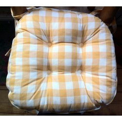 Gingham Country Check Chunky seat pad yellow